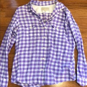 Banana Republic Purple/White Checkered Flannel